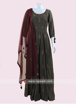 Floor Length Anarkali Suit with Net Dupatta