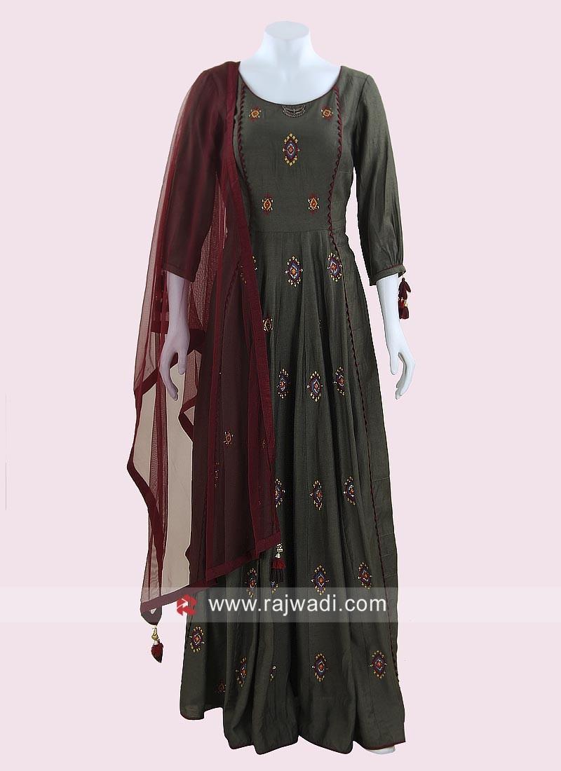 Floor Length Anarkali Suit with Net Dupatta