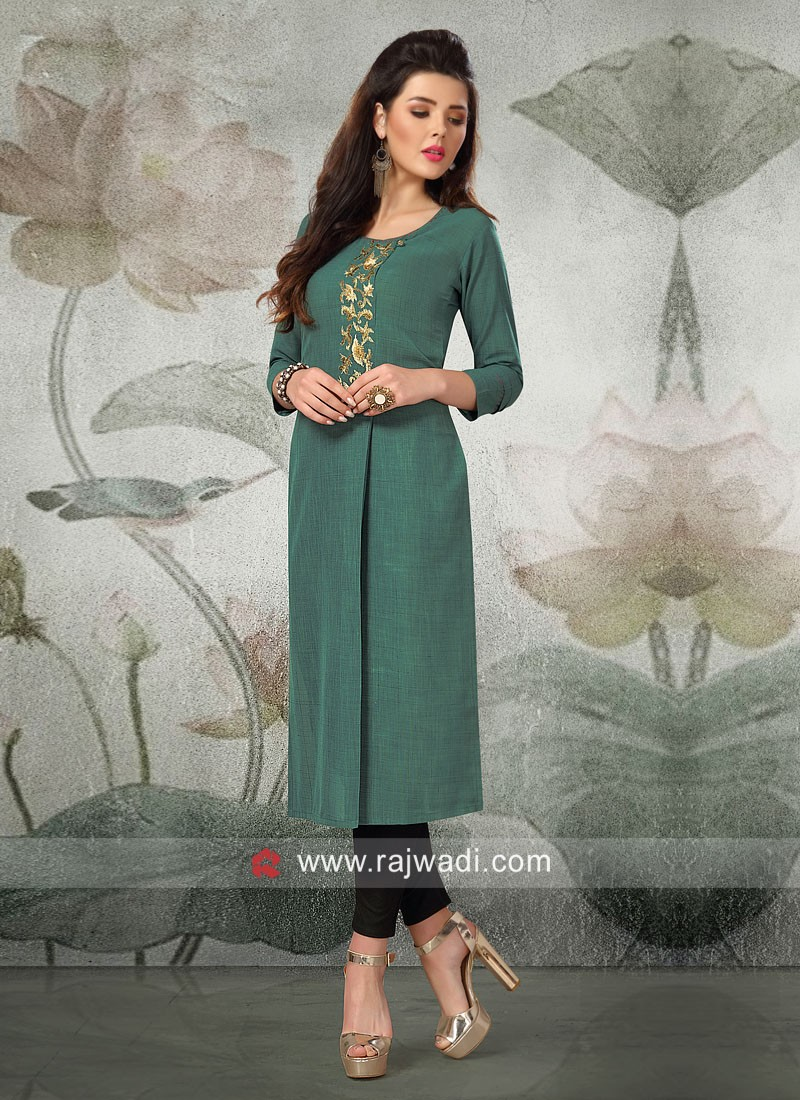 Rayon Silk Green Kurti