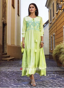 Dressline Rayon Silk Layered Long Kurti