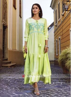 Dressline Rayon Silk Layered Long Kurti