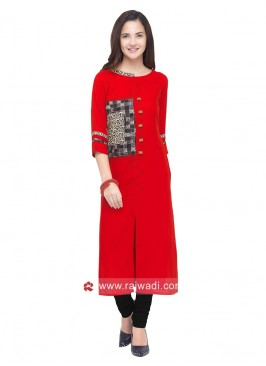 Rayon Slit Kurti with Sleeves