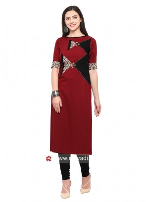 Rayon Straight Fit Kurti with Sleeves