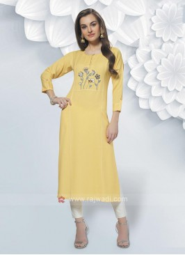 Rayon Yellow Color Kurti