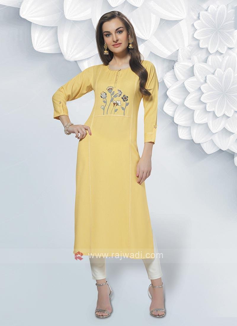 Rayon Yellow Color Kurti