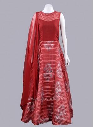 Ready Made Brown Full Length Anarkali Dress