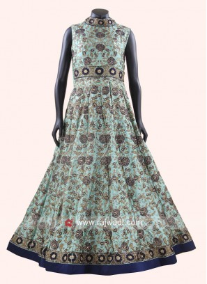 Readymade Anarkali Gown in Pista Green