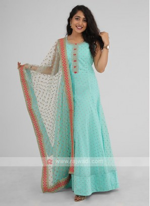 Readymade Anarkali Suit In Firozi Color