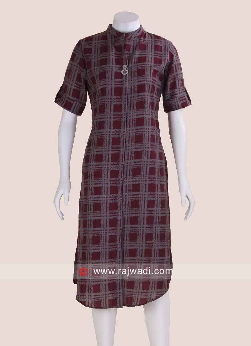 Casual Checks Tunic in Wine