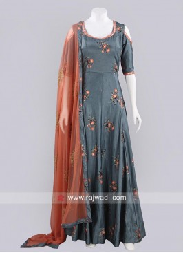 Readymade Cold Shoulder Anarkali Suit