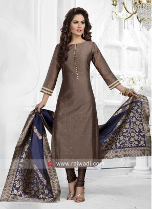 Readymade Dark Beige Churidar Suit