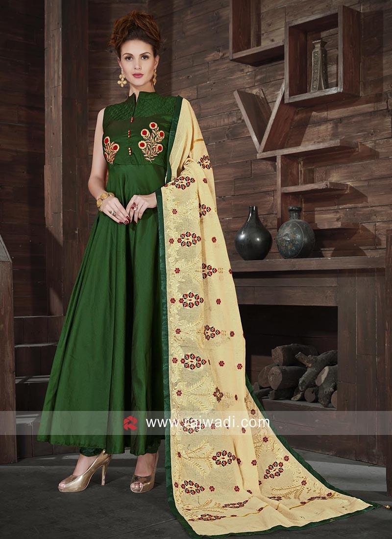 Readymade Dark Green Anarkali Dress