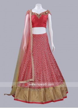 Readymade Dark Peach Lehenga Set