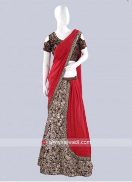Readymade Embroidered Lehenga Saree