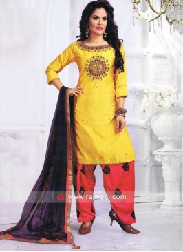 Readymade Embroidered Patiala Suit