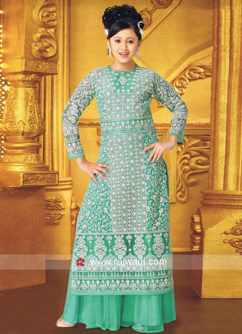 Readymade Embroidery Work Palazzo Suit for Kids