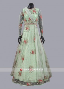 Readymade Floral Embroidered Gown