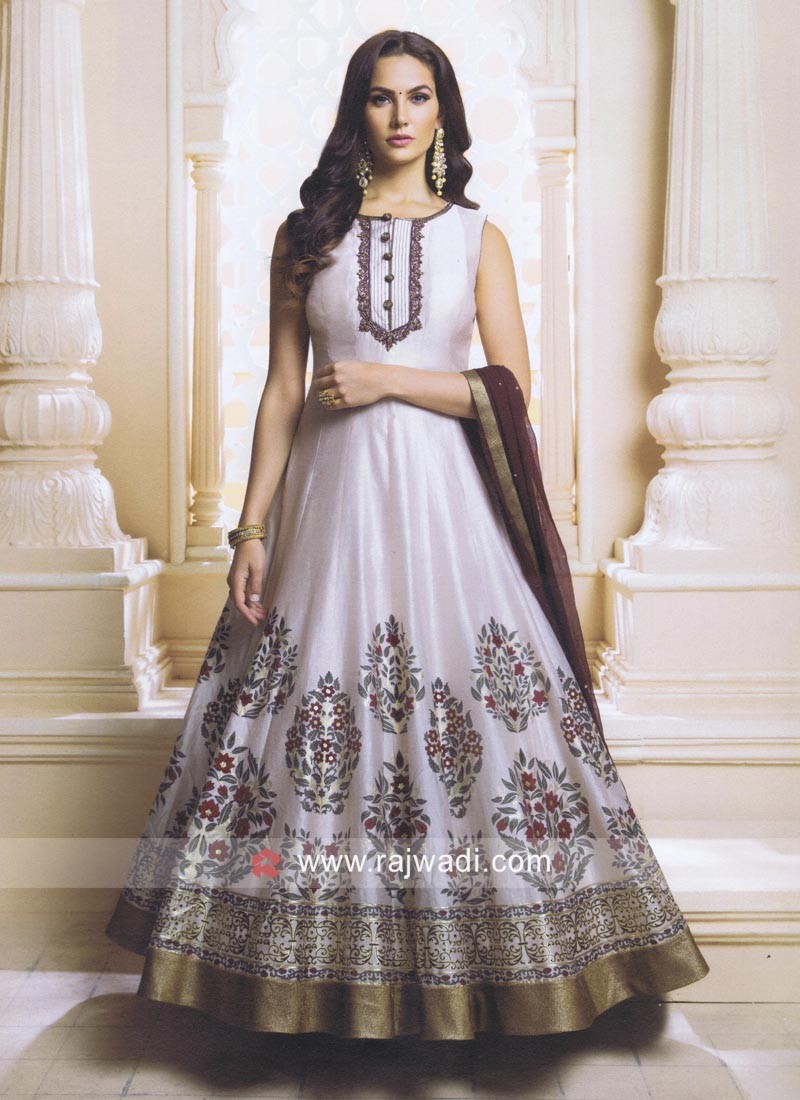 Readymade Flower Print Anarkali Suit