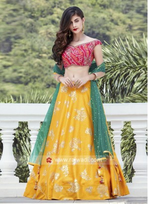 Foil Print Wedding Lehenga Choli