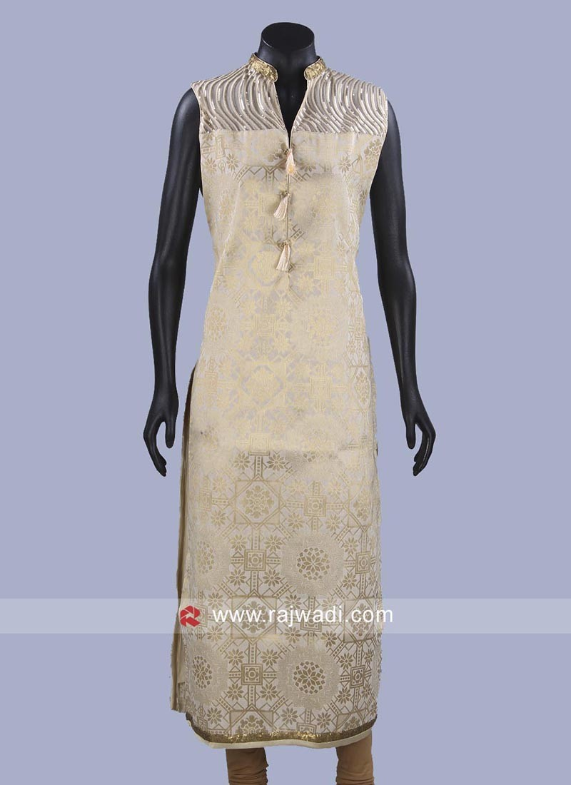 Readymade Golden Cream Brocade Kurti