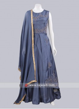 Double Layered Art Silk Salwar Kameez