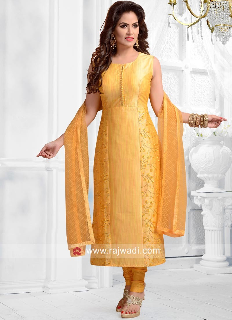 Readymade Golden Yellow Salwar Suit