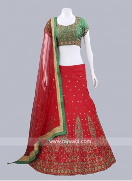 Readymade Green and Red Lehenga Choli