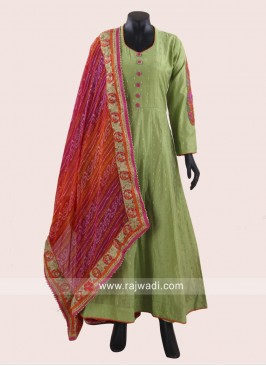 Readymade Green Cotton Silk Anarkali Suit