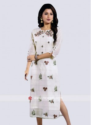Readymade Kurti in Light Cream