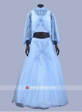 Readymade Lehenga Set in Sky Blue