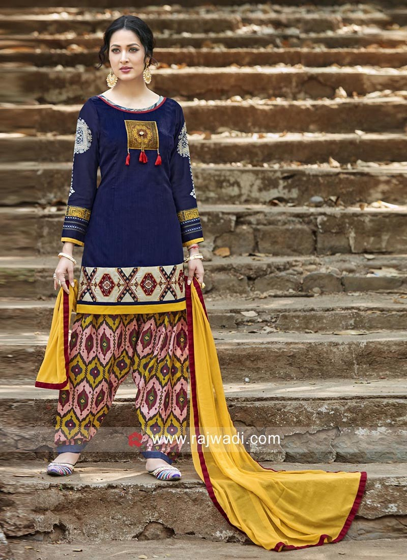 Readymade Multicolor Patiala Suit