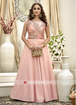 Readymade Party Wear Embroidered Gown