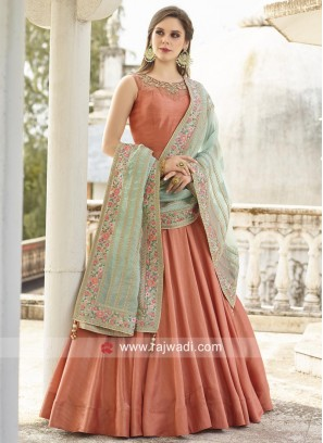 Readymade Plain Anarkali suit with Dupatta