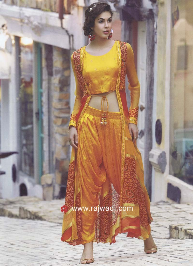 Readymade Plastic Mirror Work Dhoti Suit