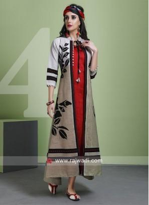 Readymade Printed Kurti with Long Koti