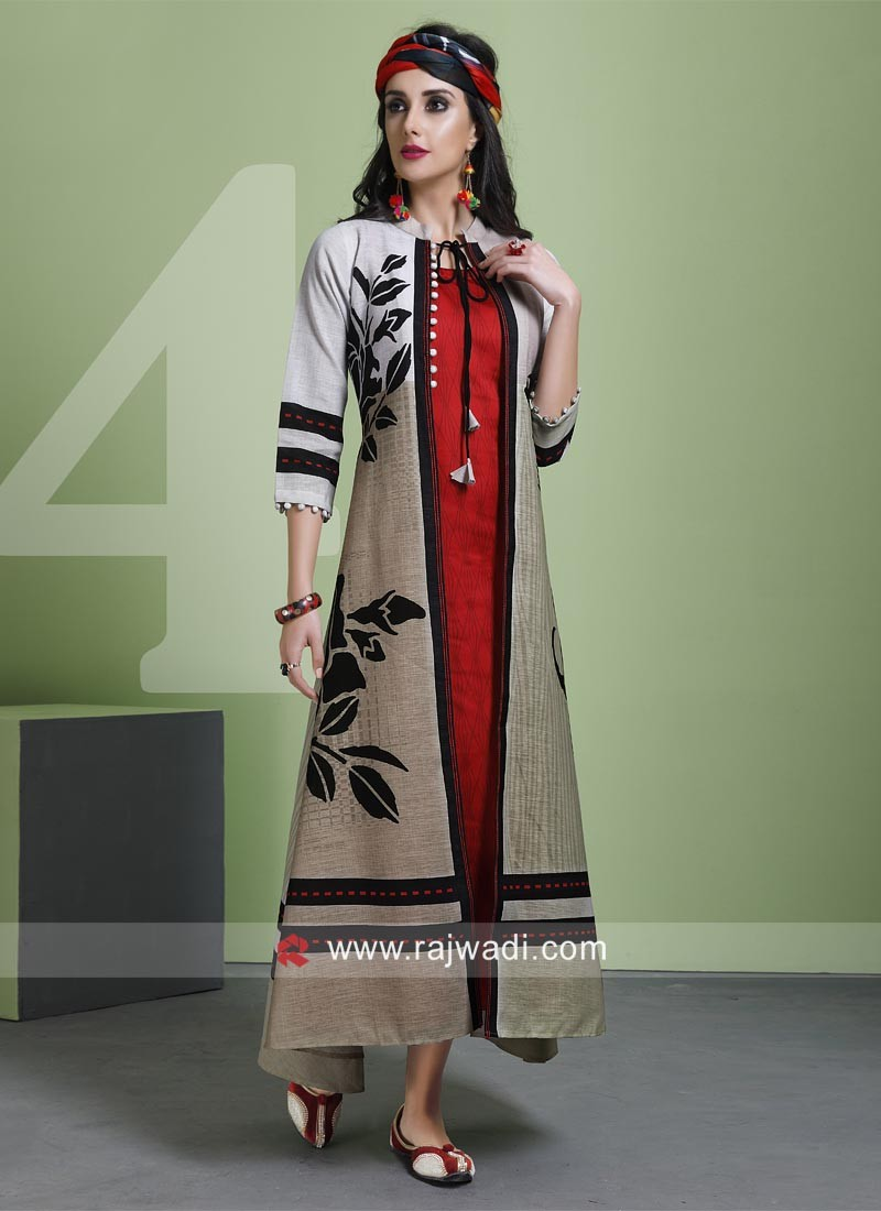 Readymade Printed Kurti with Long Koti