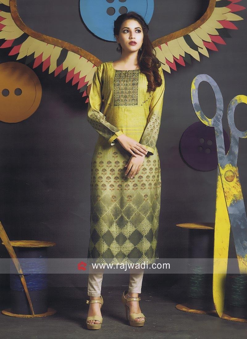 Readymade Printed Kurti with Sleeves