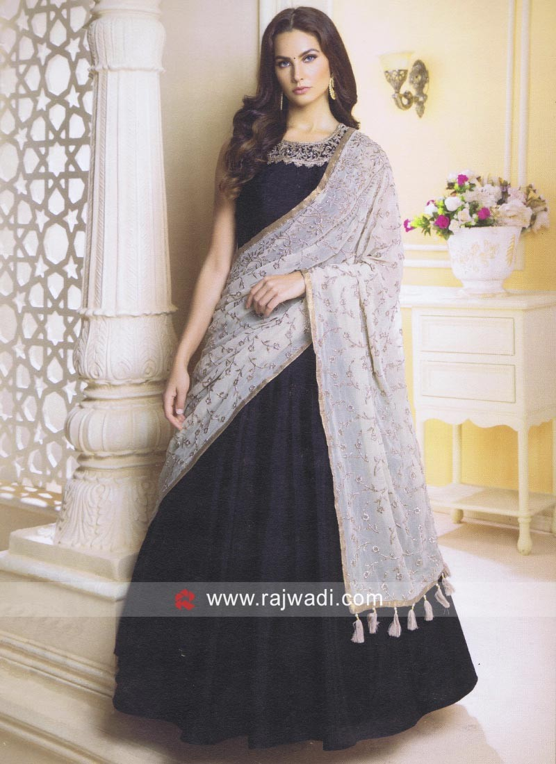 Readymade Raw Silk Anarkali Suit