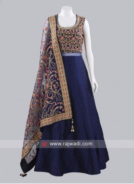 Readymade Raw Silk Gown with Dupatta
