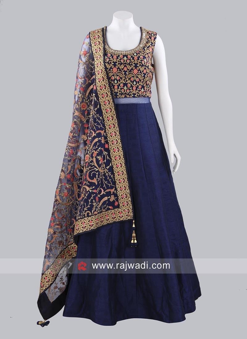 Readymade Raw Silk Gown with Dupatta