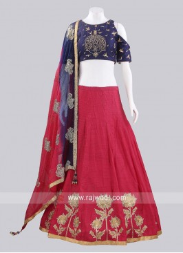 Readymade Raw Silk Lehenga Choli