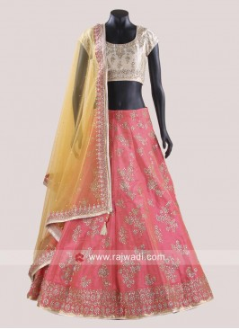 Readymade Raw Silk Lehenga Set