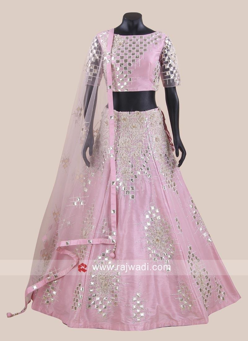Readymade Raw Silk Lehenga Set in Light Pink