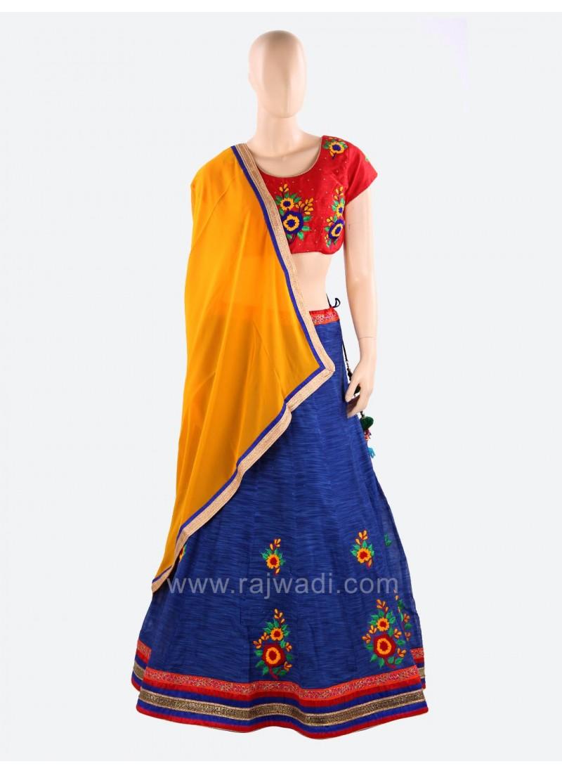 Readymade Raw Silk Woolen Work Chaniya Choli