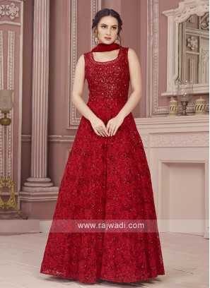 Readymade Red Anarkali Suit