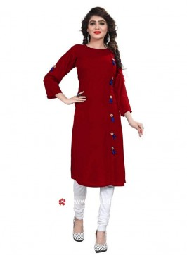Readymade Red Kurti with Tassels