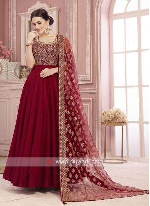 Readymade Red Zari Work Anarkali Suit