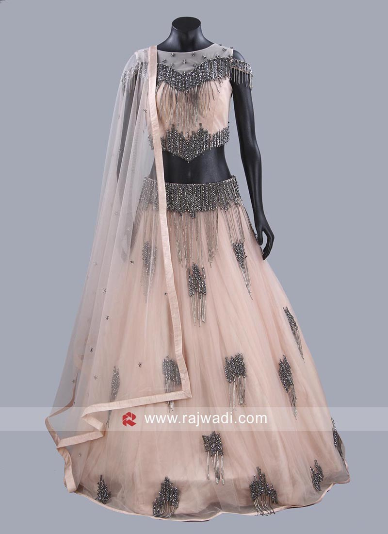 Readymade Salli Work Net Choli Suit