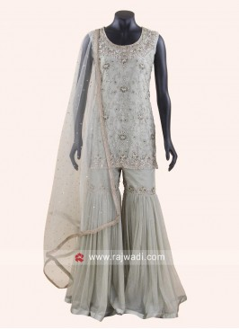 Readymade Sea Green Heavy Gharara Suit