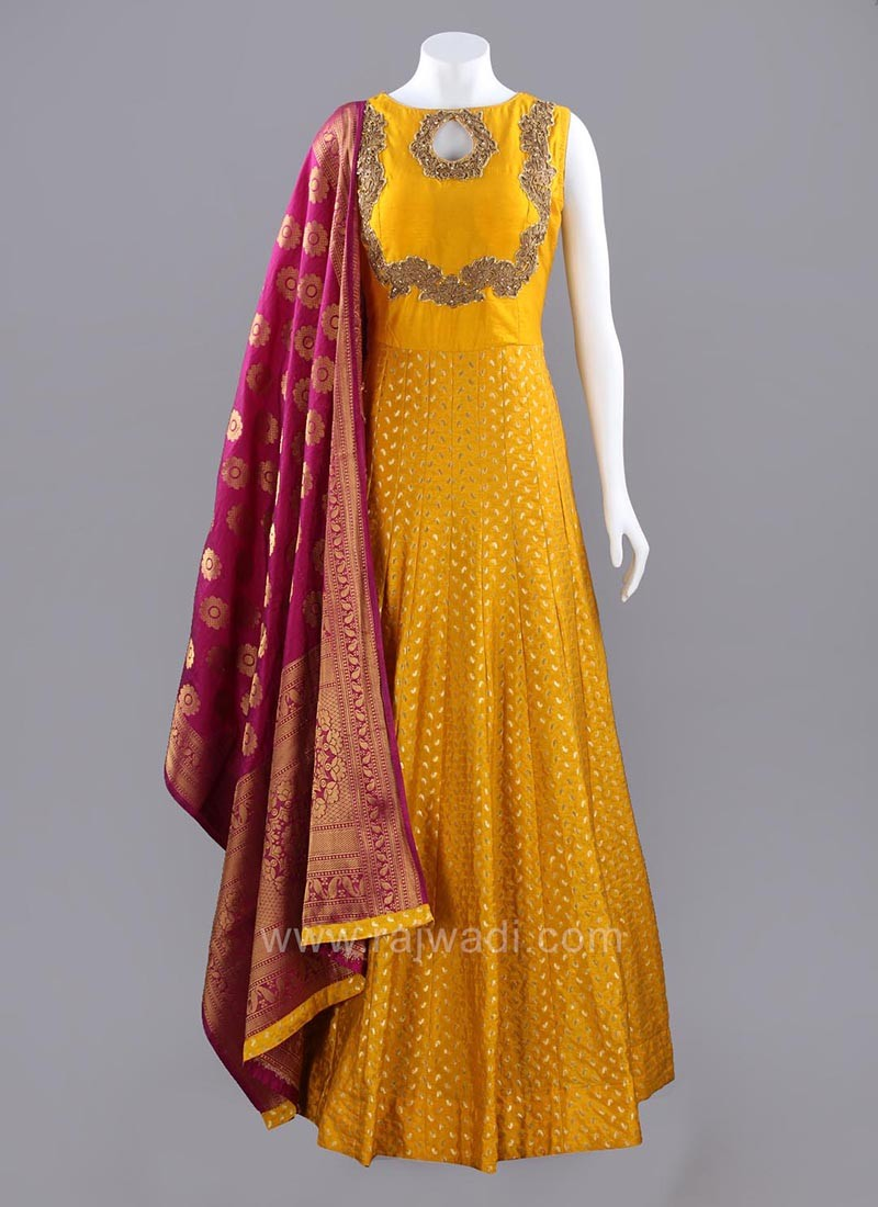 Dark Gold Embellished Anarkali Dress with Dupatta